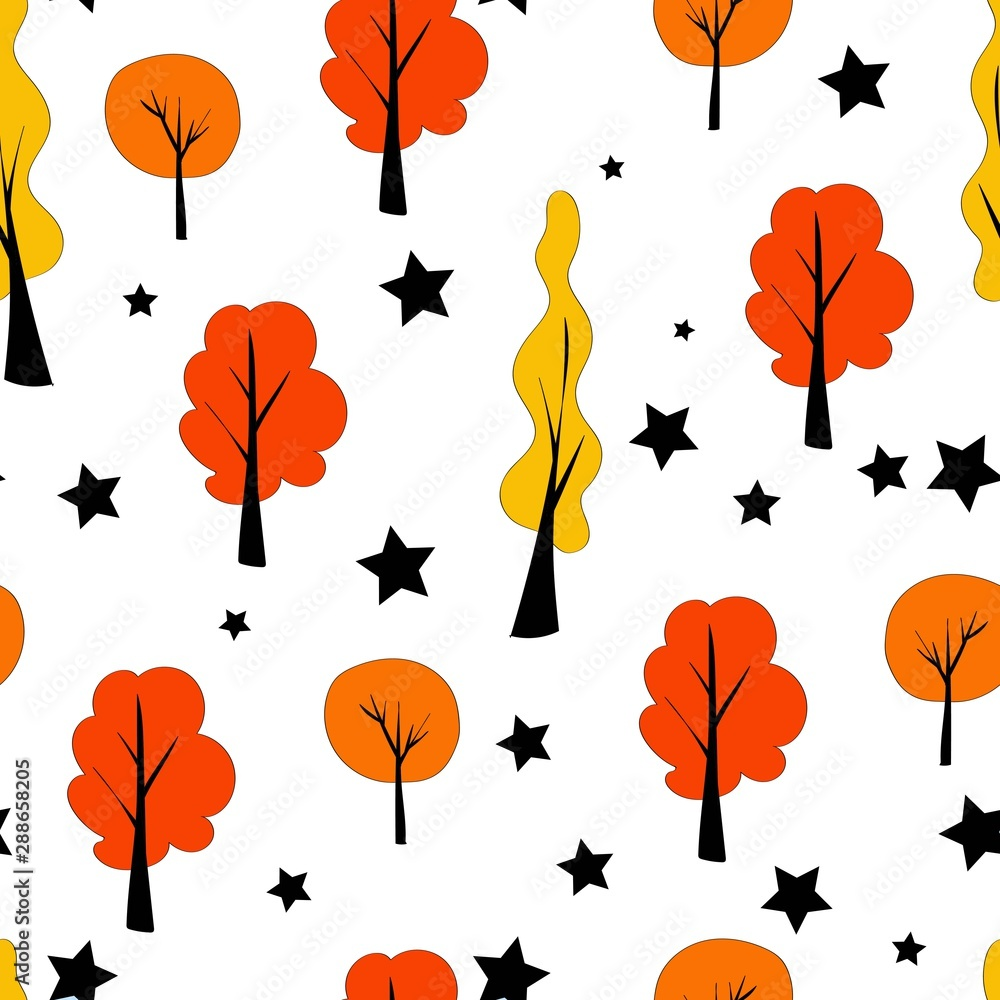 Seamless pattern in scandinavian style. Autumn trees, forest on a white background. Bright autumn colors orange yellow and red. Stars on a white background.