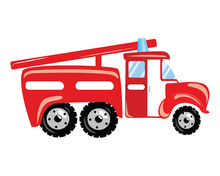 A Cartoon Fire Truck. Vector I...