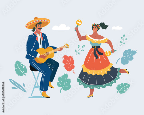 Mexican woman and man play guitar and danceing. Canvas Print