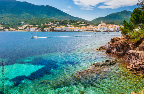 Poster Barcelona Sea landscape with Cadaques, Catalonia, Spain near of Barcelona. Scenic old town with nice beach and clear blue water in bay. Famous tourist destination in Costa Brava with Salvador Dali landmark