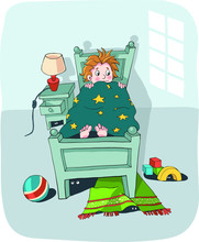 A Little Boy Lying In His Bed At Night And Scared Of The Monsters Hiding In The Dark - Flat Hand Drawn Vector Illustration