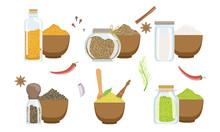 Spices In Wooden Bowl Set, Peppercorns, Sesame, Fennel Seeds, Svanuri Marili, Curcuma Powder, Himalaya Salt Vector Illustration
