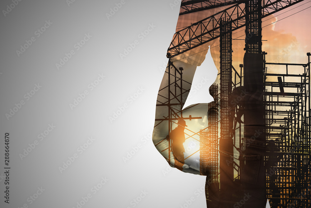 Fototapety, obrazy: Double exposure concept with engineer  or foreman on construction site of background,copy space for text.