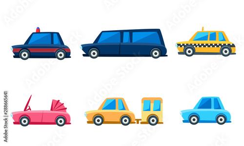 Keuken foto achterwand Cartoon cars City Transport Set, Cute Colorful Childish Vehicles Vector Illustration