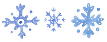 Snowflakes, Hand Drawn Waterco...