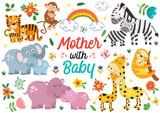 Fototapeta Fototapety na ścianę do pokoju dziecięcego - set of isolated animals mother with baby part 1 - vector illustration, eps