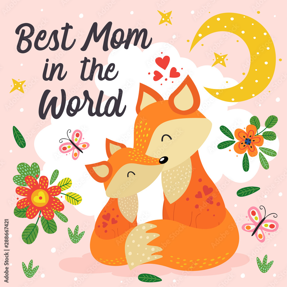 poster with cute fox mother and baby - vector illustration, eps <span>plik: #288667421 | autor: nataka</span>
