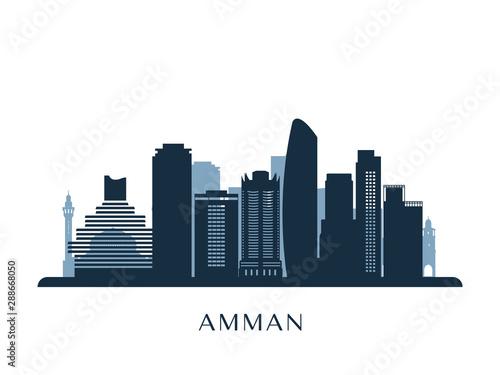 Photo Amman skyline, monochrome silhouette. Vector illustration.