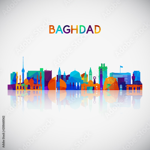 Vászonkép Baghdad skyline silhouette in colorful geometric style