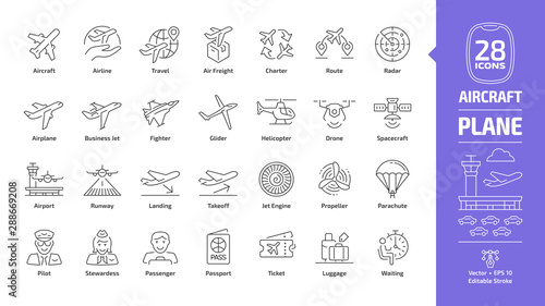 Fotografia Aircraft outline icon set with flight plane editable stroke symbol: airline, tra