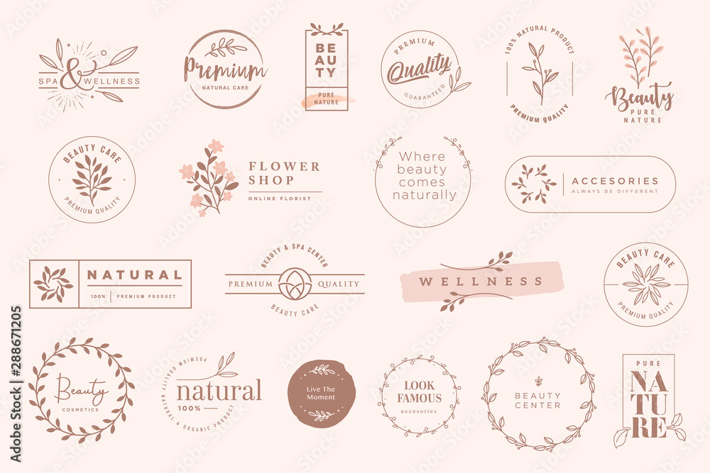Fototapeta Set of vintage labels and badges for beauty, natural and organic products, cosmetics, spa and wellness, fashion. Vector illustrations for graphic and web design, marketing material, product promotions