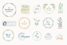 Set Of Elegant Badges And Stickers For Beauty, Natural And Organic Products, Cosmetics, Spa And Wellness, Fashion, Jewelry, Wedding. Vector Illustrations For Graphic And Web Design, Marketing Material