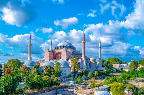 Fotografia  Sunny day Hagia Sophia Museum, in istanbul, Turkey