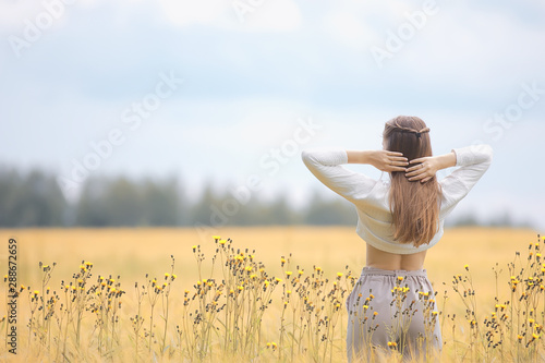 Photo sur Toile Blanc young adult sexy girl in the field / summer happiness concept, beautiful woman