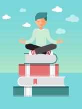 Man Sitting Lotus Pose On Stac...
