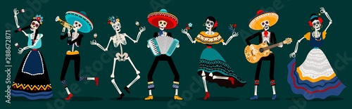Day of the dead skeletons party Canvas Print