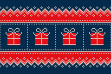 Christmas Holiday Seamless Knitted Pattern With A Present Boxes. Nordic Sweater Design. Wool Knit Texture Imitation.