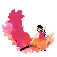 Young Caucasian Girl In Long Dress With Hem In Shape Of Flying Bird And Flame , Dancing Flamenco, Salsa, Bachata Or Tango, Isolated On White Background. Beautiful Design Element For Concert Poster.