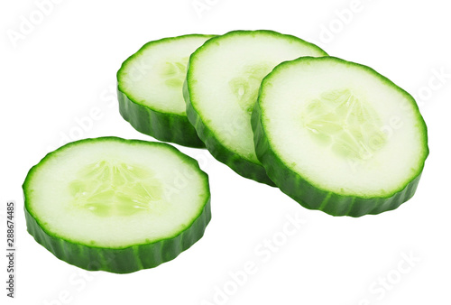 Cuadros en Lienzo  cut green cucumber isolated on white background