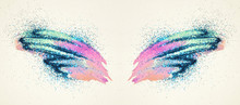 Blue Glitter On Abstract Pink And Blue Watercolor Wings In Vintage Nostalgic Colors.