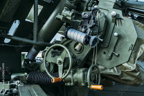 Russian military anti-tank artillery gun, close up of guidance and control mecha Wallpaper Mural