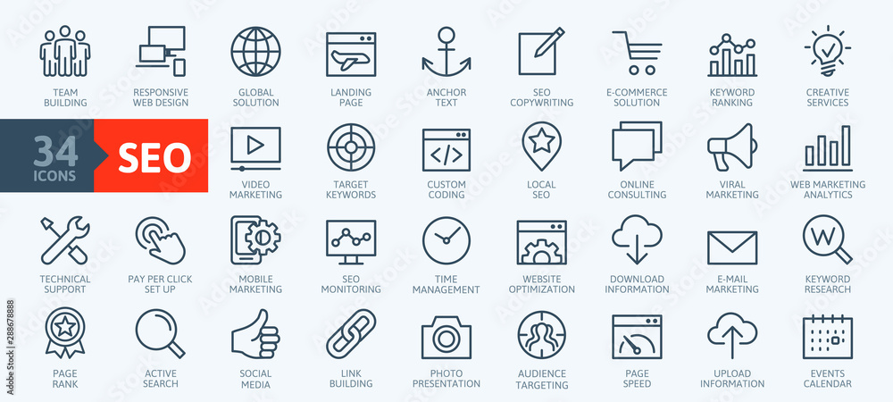 Fototapeta Outline web icons set - Search Engine Optimization. Thin line web icon collection. Simple vector illustration.