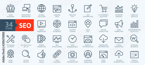 Outline web icons set - Search Engine Optimization. Thin line web icon collection. Simple vector illustration. - 288678888