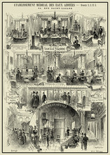 Magazine Page With Advertising In French Dated 1888 About Medical Establishment Of Healthcare With Nitrogenous Waters