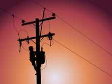 Silhouette Of Power Lineman Closing A Single Phase Transformer On Energized High-voltage Electric Power Lines.