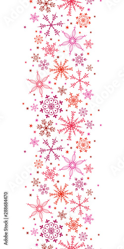 Fototapeta Beautiful snowflake vertical pattern - hand drawn in pink and red, great for invitations, banners, wallpapers - vector surface design obraz na płótnie