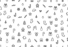 Christmas Background With Festive Decorative Elements, Design In Outline Styles. Xmas Backdrop Black And White Vector Illustration