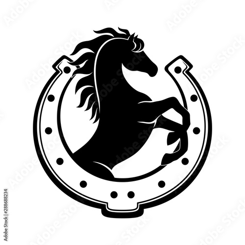 Canvas Print Horse and horseshoe sign on a white background.