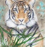 Akwarela obrazek tygrysa lying on the beach w zielonej trawie z sepiowym tłem - 288690427