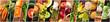 Leinwanddruck Bild - Organic Food Collage. Many photos of fresh vegetables, panoramic vegan design