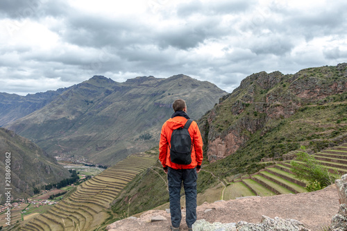 Stampa su Tela Young male tourist traveling alone in Sacred valley