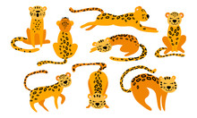 Cute Cartoon Leopards Set. Funny Animals Isolated On White Background. Flat Vector Illustration.