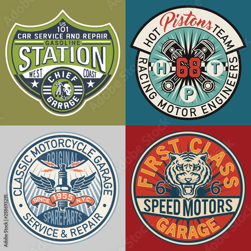 motor service garage patches collection vintage vector artwork for boy wear prints or embroideries - 288693291