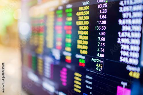 Fototapeta Stock exchange market business concept with selective focus effect. Display of Stock market quotes. obraz
