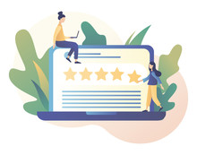 Star Rating Concept. Customer Reviews. People Leave Feedback And Comments. Modern Flat Cartoon Style. Vector Illustration