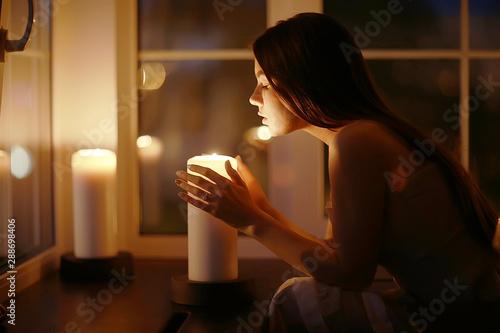 Girl candles divination romantic magic Poster Mural XXL