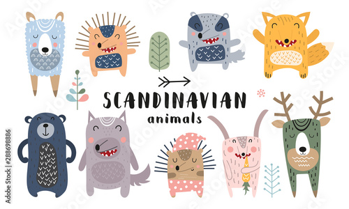 Cute scandinavian animals set. Hand drawn. Doodle cartoon animals for nursery posters, cards, kids t-shirts. Vector illustration. Bear, hedgehog, llama, fox, hare, wolf, deer, badger.