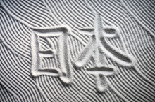 Japanese Zen Garden With The Chinese Characters For Nihon (English Translation: Japan) Written In Textured White Sand Raked With Abstract Wave Patterns