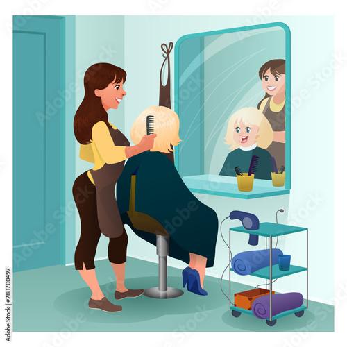 Fototapety, obrazy: Professional hairdresser cartoon vector illustration. Beauty salon interior flat graphic