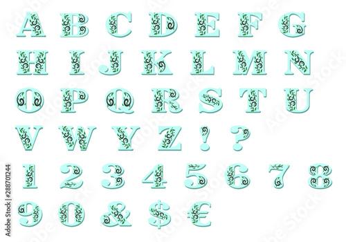 Photo alphanumeric alphabet with leaf decorations