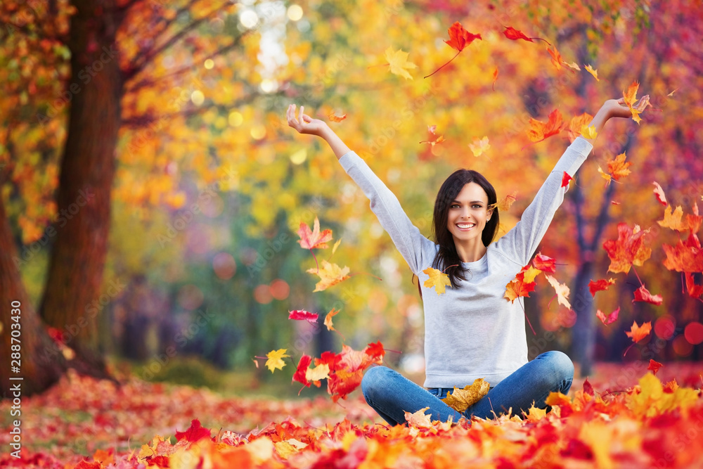 Fototapety, obrazy: Happy Woman Enjoying Life in the Autumn