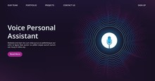 Voice Assistant Landing. Web Page Template With Vector Sound Wave And Microphone. Illustration Voice Assistant Technology, Microphone Personal Help