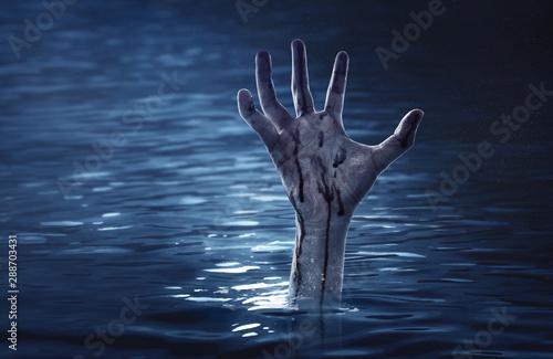 Fotomural  Bloody zombie hand, halooween theme