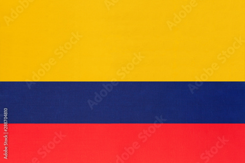 Photo sur Toile Amérique du Sud Colombia national fabric flag textile background. Symbol of international world south America country.