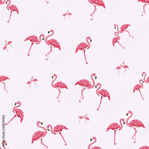 Canvas Prints Flamingo Hand drawing flamingos on the soft pink seamless background