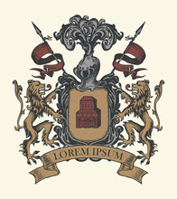 Vector Heraldic Coat Of Arms In Vintage Style With Shield, Knightly Armor, Spears, Helmet, Lions, Ribbon And Castle. A Medieval Heraldry, Emblem, Sign, Symbol. Hand-drawn Color Image.